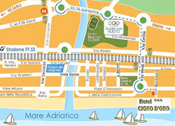 Riccione City Map: we are on the Beach (bottom right)