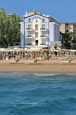 View from the sea and the beach in Riccione