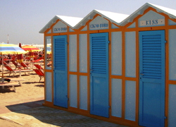 Our Bagni Azzurra typical beach cabins